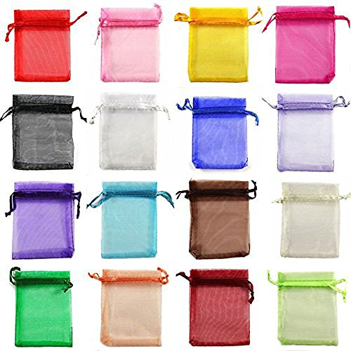 yueton 100 Pieces Assorted Color Organza Drawstring Pouches Candy Jewelry Party Wedding Favor Present Bags 3-1/2W 4-1/2L Inch ()