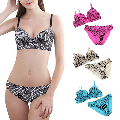 (Womens Underwear,Kirbyates Sexy Bra Lingerie Stripe Smooth Printed Bralette and Panties Set Butterfly Knot Push Up Bras Hot Pink)