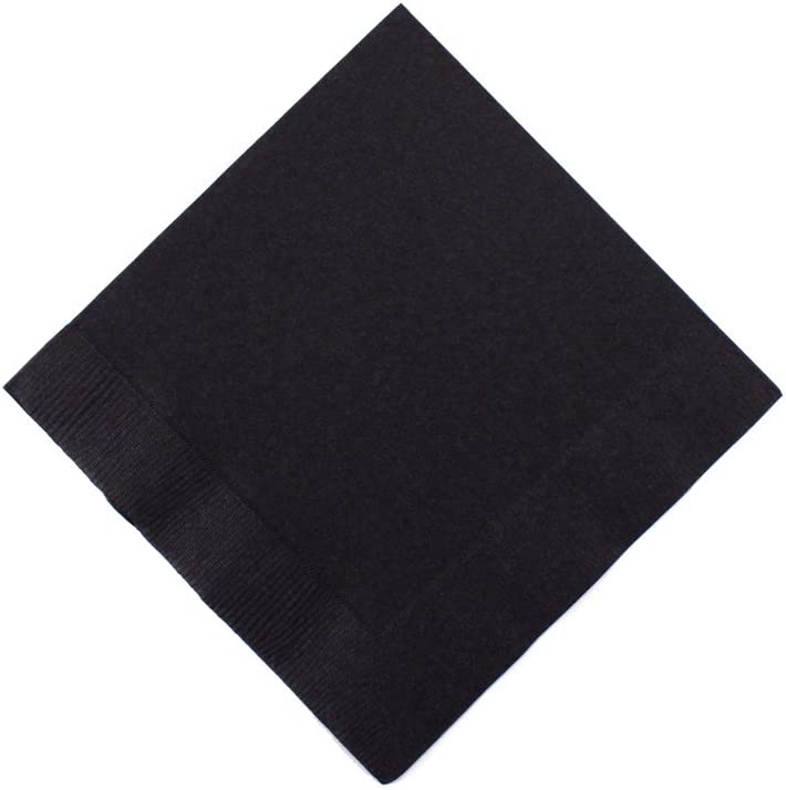 Jet Black 3-Ply Beverage Napkins | Pack of 50 |Party Supply