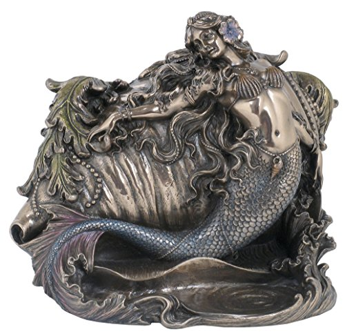Mermaid and Conch Trinket Box, Bronze Powder Cast Statue 7.5-in ()