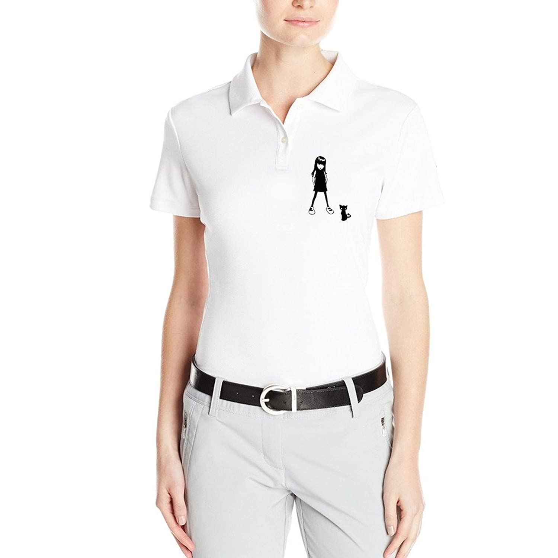 ALIZISHOP1 Custom Women's Little Girl With A Black Cat POLO Shirt