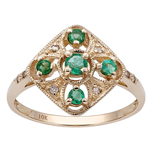 10k Yellow Gold Vintage Style Genuine Round Emerald and Diamond Ring