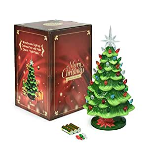 Amazon Com Cordless Lighted Ceramic Christmas Tree