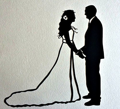wedding-silhouette-wall-art-first-anniversary-paper-gift-custom-silhouette-portrait-silhouette-pictu