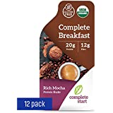 Complete Start - Plant Based Meal Replacement, 100% USDA Organic, Vegan Protein, Instant Breakfast (12 Shakes) - Gluten Free, Dairy Free, Low Carbs, Protein Shake with Chocolate Flavor - Rich Mocha