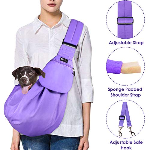 (SlowTon Pet Carrier, Hand Free Sling Adjustable Padded Strap Tote Bag Breathable Cotton Shoulder Bag Front Pocket Safety Belt Carrying Small Dog Cat Puppy Machine Washable (Purple))