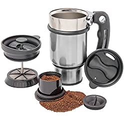 French Press Travel Mug with Handle, Storage Container for Extra Coffee, and 2 Spill Proof Lids - 14 oz - Silver made by Planetary Design