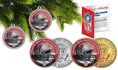 - TAMPA BAY BUCANEERS Colorized JFK Half Dollar 2-Coin Set NFL Christmas Ornaments