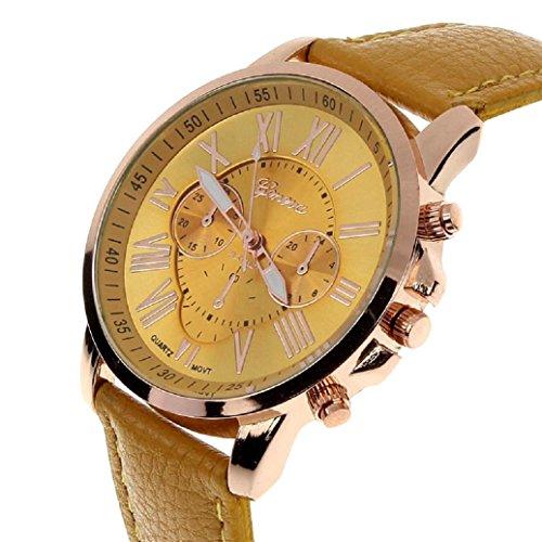 YANG-YI Man Numerals Faux Leather Analog Round Quartz Wrist Watch Women (Numerals Women Watch)