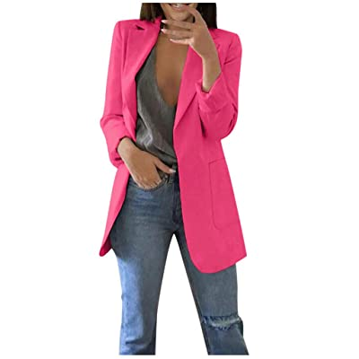 ღLILICATღ Mujer Color Sólido Blazer Slim Fit La Solapa Bolsillo Chaqueta de Traje Cardigan Casual Outwear Top: Deportes y aire libre