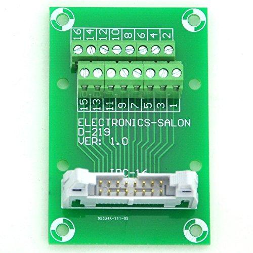 Electronics-Salon IDC16 2x8 Pins 0.1'' Male Header Breakout Board, Terminal Block, Connector.