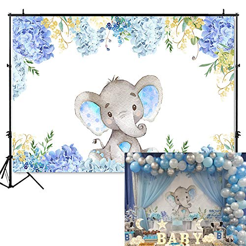 Mehofoto Boy Elephant Baby Shower Backdrop Light Blue Flower Elephant Photography Background 7x5ft Vinyl Elephant Birthday Party Banner Backdrops]()