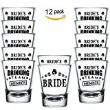 Shop4Ever Bride and Bride's Drinking Team Member Shot Glasses ~ Bachelorette Party Favors ~ (Set of 12, 1.5 oz.)