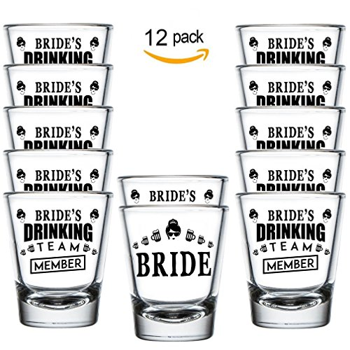 Shop4Ever Bride and Bride's Drinking Team Member Shot Glasses ~ Bachelorette Party Favors ~ (Set of 12, 1.5 oz.) by Shop4Ever