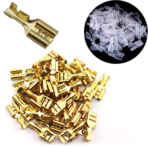 ToToT 100pcs 6.3mm Gold Female Spade Crimp Terminal with Insulating Sleeve Self lock Plug Electrical Wire Splice Connectors