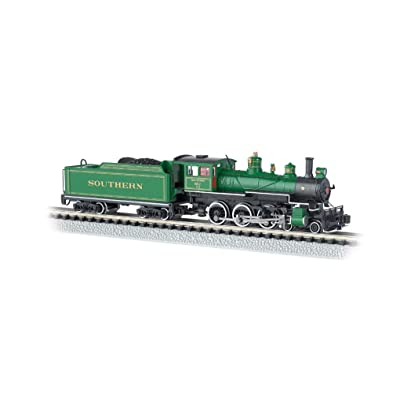 Bachmann Industries #1012 Baldwin 4-6-0 Steam Locomotive and Tender DCC Equipped Southern Train Car, Green with Gold Stripes, N Scale: Toys & Games