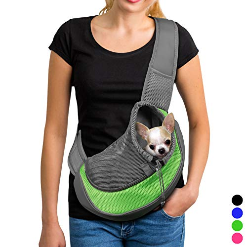 YUDODO Small Pet Carrier Soft Dog Cat Rabbit Travel Sling Shoulder Bag for Walks(Green, S fits Less Than 4lbs)