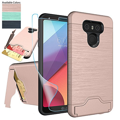 Price comparison product image LG G6 Case,LG G6 Card Case with HD Screen Protector,NiuBox [Card Slot Wallet Fits 2 Cards] [Kickstand] Dual Layer Hybrid Shock Absorption Protective Phone Case for LG G6 (Verizon 2017) - Rose Gold