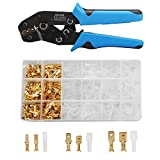 CHISTAR Wire Terminals Crimping Tool, Professional Ratcheting Wire Terminal Crimper Tool with 300PCS Male and Female Wire Spade Connectors Terminals Crimper Kit