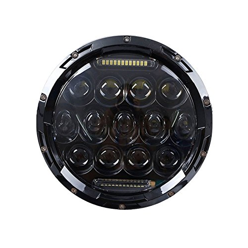 ch 75W Round LED Projector Headlight Waterproof Bulb for Harley Davidson Motorcycle & Jeep Wrangler LED Headlamp ()