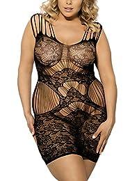 Zerolove Lingerie Women's Plus Size Sexy Lace Fishnet Lingerie Nighties Black