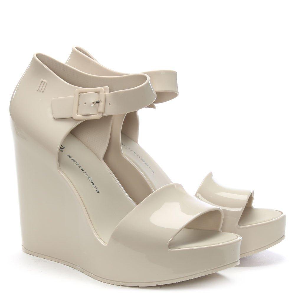 2018 Unisex Mar Ivory Ankle Strap Wedge Sandals 39 White Patent Melissa Verkauf 100% Authentisch SM9gj