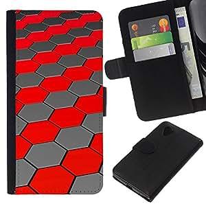 KingStore / Leather Etui en cuir / LG Nexus 5 D820 D821 / Polígono colmena hexágono rojo Líneas futuristas