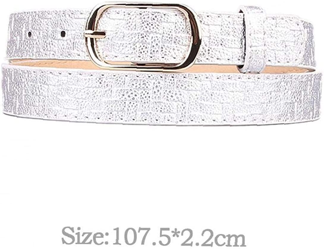 Angoter Imitation Woven Pattern Belt Gold Square Pin Buckle Pu Leather Dress Jeans Leather Belt Decor for Women Girl
