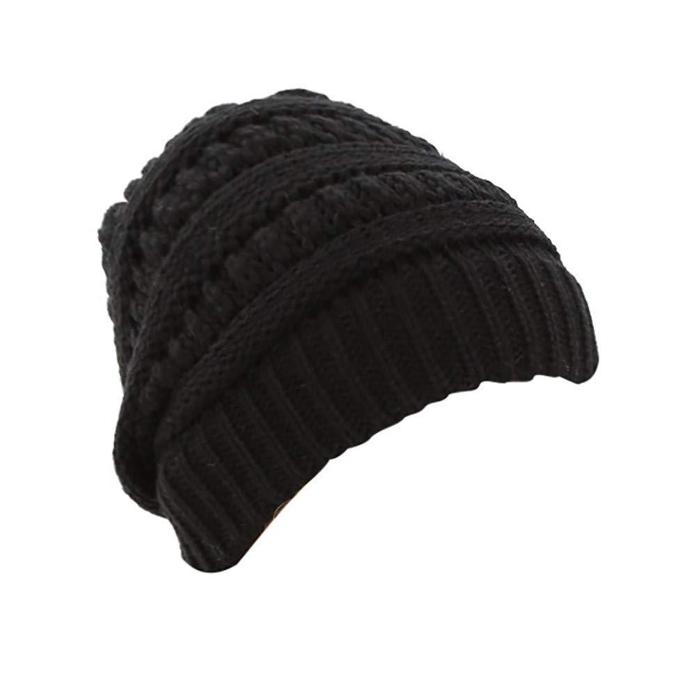 72dbc291c70 Amazon.com  Futemo Women Men Autumn Winter Beanie Hat Knitting Wool Warm  Hats Ponytail hat (Black)  Clothing