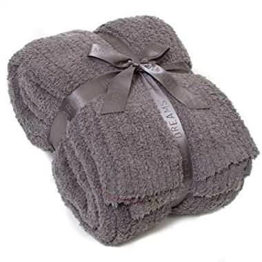 Barefoot Dreams CozyChic Ribbed Queen/King Blanket, Color: Charcoal
