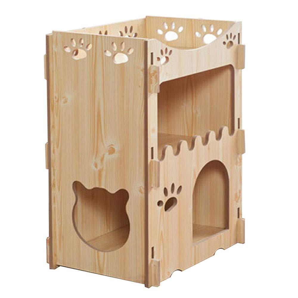 B Meng pet Wooden Cat Bed  Cat Toys, Pet Furniture, Pet Villas, Cat Hide and Seek Toys, Four Seasons Cat Beds, Pet Interactive Toys (Size   C)