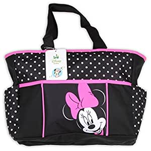 Disney Minnie Mouse Large Black and Pink Polka Dot Tote Diaper Bag