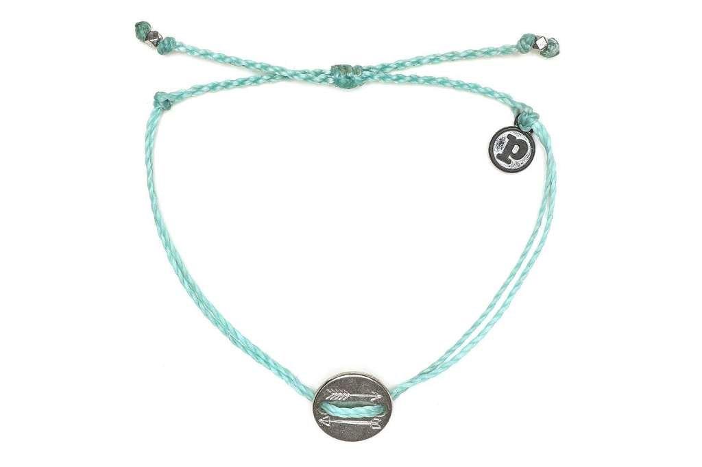 Pura Vida Silver OG Arrow Coin Seafoam Bracelet - Plated Charms, Adjustable Band - 100% Waterproof