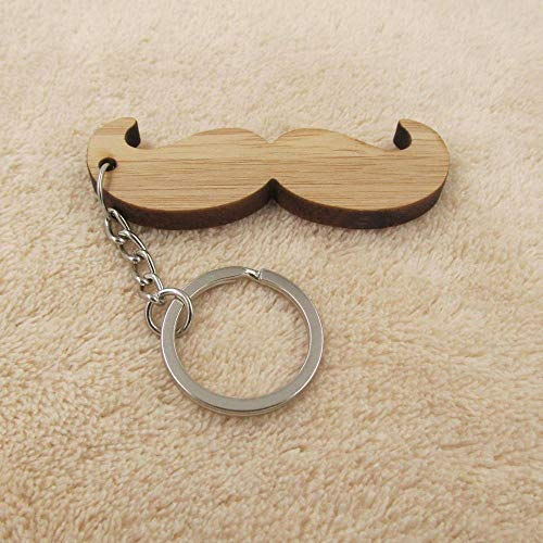 Key Chains - Mustache Men Key Chain Ring Laser Cut Wood Keychain Gift for Him Dad Father Grandfather Birthday Favor - by Mct12-1 PCs