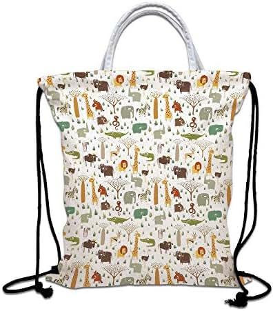 Cartoon Animal Drawstring Bag waterproof, Grunge African Savannah Fauna Childhood Theme Safari Funny Wildlife Pattern Decorative Lightweight Gym Sackpack for Hiking Yoga Gym Swimming Travel Beach,Mult