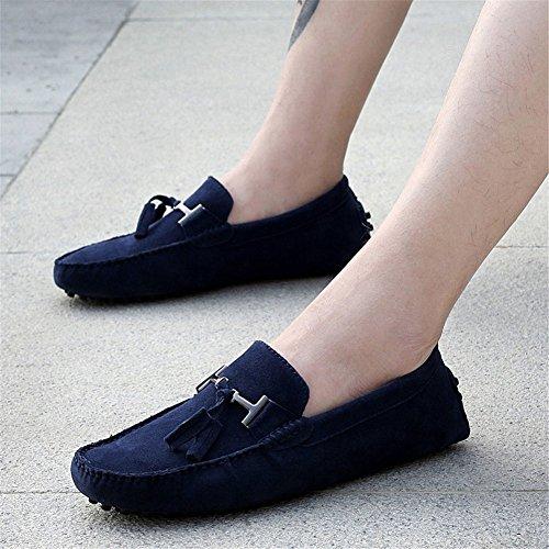 Cuatro Hebilla Hombres Zapatos Zapatos de Calidad Azul de Alta Zapatos Guisantes de de Metal Oneforus Estaciones de Los Casuales Guisantes Zapatos de de de Cuero wAnUXqv