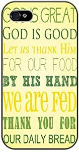 God is great, God is good ...by his hand we are fed - Bible verse iPhone 4/ 4s black plastic case / Christian Verses