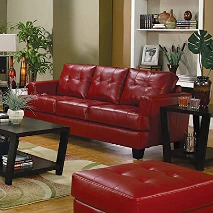 Stylish Leather Sofa, Plush, Deep Seating, Comfortable, Attached Seat  Cushions, Bonded