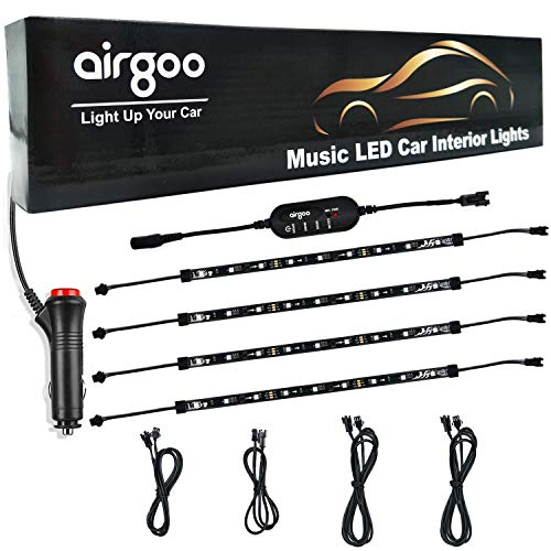 (Airgoo Car LED Strip Light, Update Single Wire Controller Rainbow LED Car Interior Lights, Waterproof Music Under Dash Lighting Kit, Separate LED Strip Easy to install, Include 12V Car)