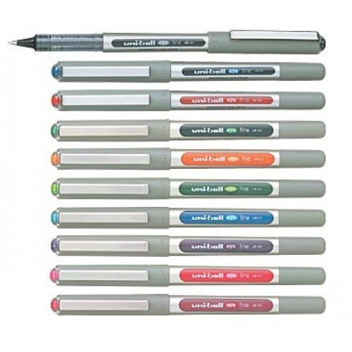 Uni-Ball EYE UB-157 Rollerball Pen 0.7mm Ball [Pack of 10] One of each colour - Ink Flow Continuous System