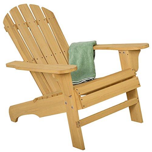 Outdoor Natural Fir Wood Adirondack Chair Patio Lawn Deck Garden Furniture by Lotus Analin