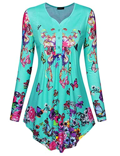 Green Tunic Tops for Women Acloth Long Shirts to Wear with Leggings Vintage Printed V Neck Streth Button Up Paisley Patterned Casual Office Wear Henley Loose Work Blouse Turquoise XL (Cheap Long Shirts To Wear With Leggings)