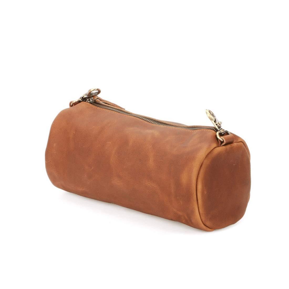 Color : Brown1 Carriemeow Mens Genuine Leather Chest Bag Sling Shoulder Bag Daypack Crossbody Bag for Hiking Camping