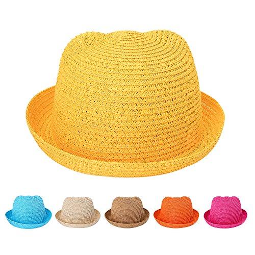 Kids Anti-UV Straw Sun Hat Cat Ear Summer Cap for Girl Boys Bucket Hat (Yellow)]()