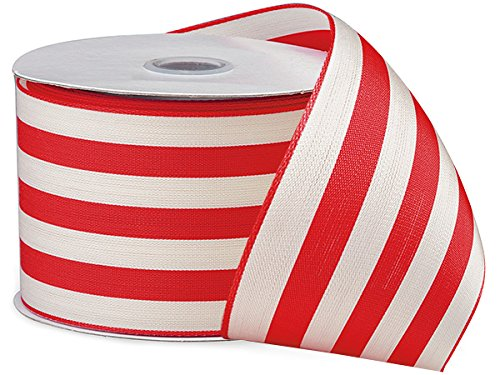 (BonBon Paper Giftwrap Ribbon in Cabana Stripe (2.5 inch x 10 yds, red white))