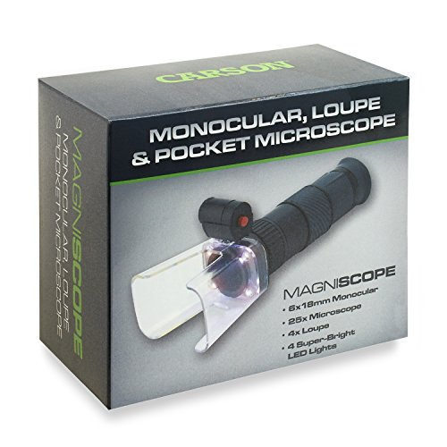 Carson MagniScope LED Lighted 3-in-1 6x18mm Monocular, 25x Power Field Microscope and 4x Focusing Loupe (MA-60)