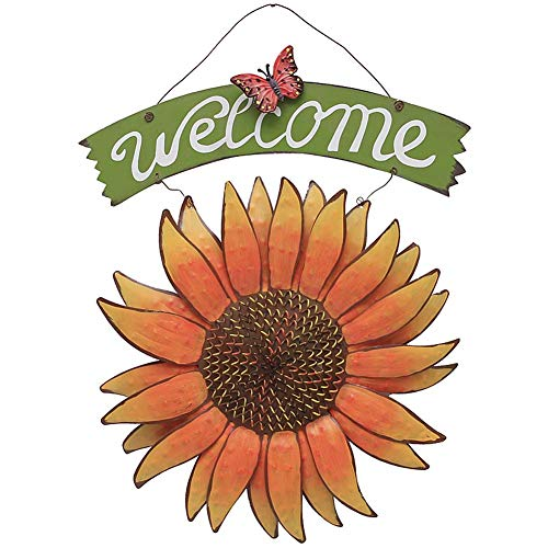 E-view Sunflower Welcome Sign Decorative Vintage Metal Wall Hanging Home Garden Decor - Welcome Plaque for Front Door, Garden Themed Sunflower & Butterfly (Yard Garden Welcome Sign)