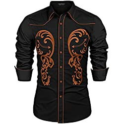 COOFANDY Men's Cowboy Western Embroidered Shirt Long Sleeve Button Down Shirts, Black, XX-Large