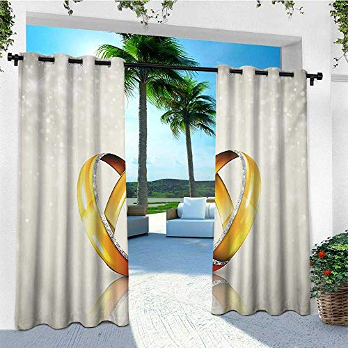 leinuoyi Wedding, Porch Curtains Outdoor Waterproof, Two Big Rings on Abstract Background Marriage Engagement Icons Print, for Patio Waterproof W72 x L96 Inch Yellow Orange Eggshell