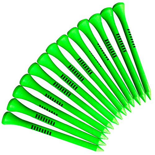 (Solid Quality Wooden tees Green Color with Striped Marker 3 1/4 inch Length 40 Count Included Clip Plastic Box Easy for Storage)